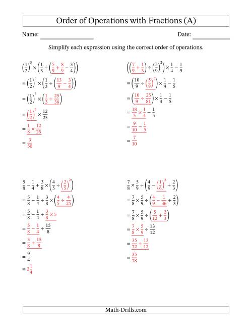 The Order of Operations with Positive Fractions (Five Steps) (All) Math Worksheet Page 2