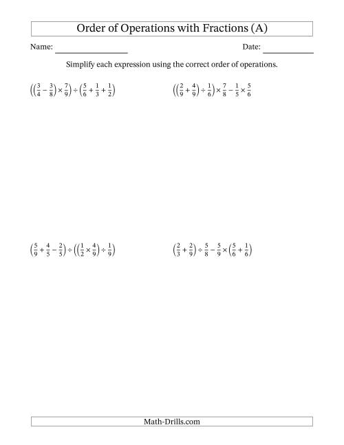 The Order of Operations with Positive Fractions and No Exponents (Five Steps) (A) Math Worksheet