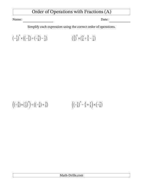 The Order of Operations with Negative and Positive Fractions (Four Steps) (A) Math Worksheet