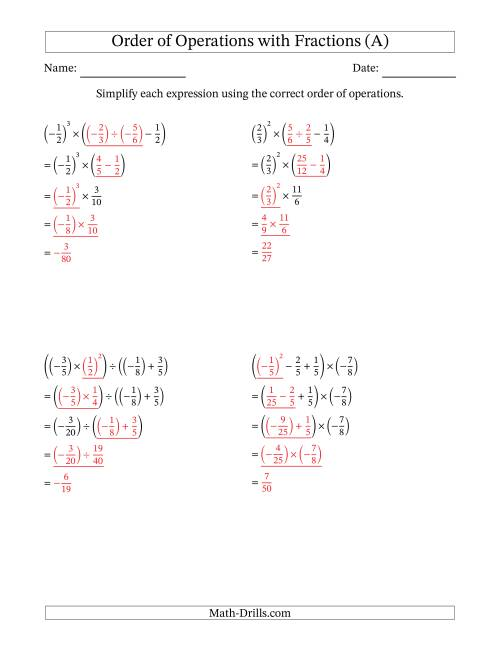The Order of Operations with Negative and Positive Fractions (Four Steps) (A) Math Worksheet Page 2