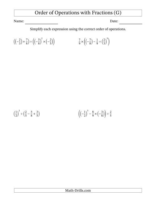 The Order of Operations with Negative and Positive Fractions (Four Steps) (G) Math Worksheet