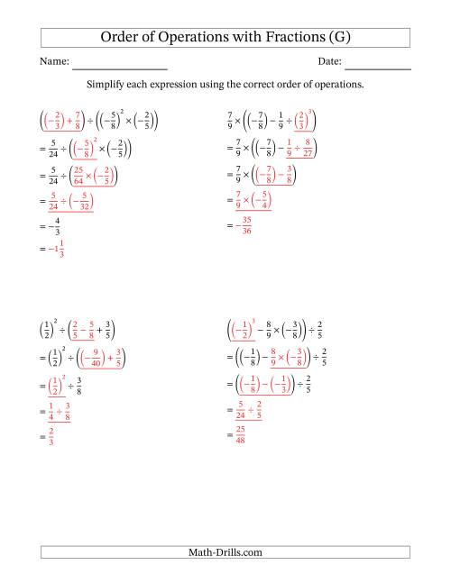 The Order of Operations with Negative and Positive Fractions (Four Steps) (G) Math Worksheet Page 2