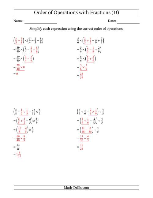 The Order of Operations with Positive Fractions and No Exponents (Four Steps) (D) Math Worksheet Page 2