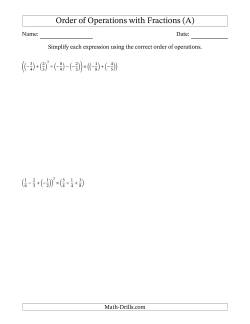 Order of Operations with Negative and Positive Fractions (Six Steps)