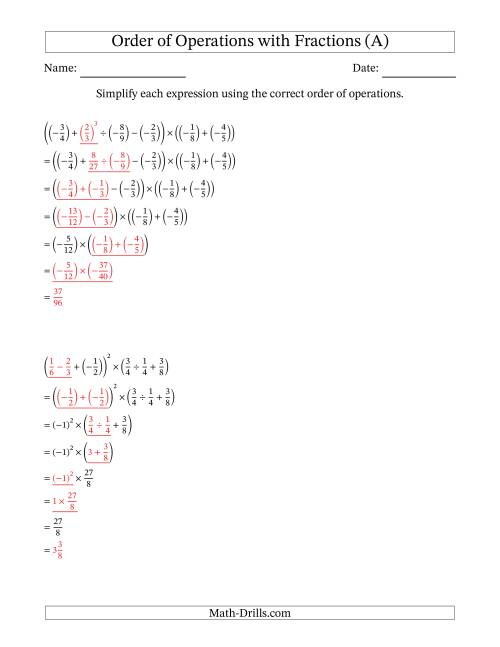 The Order of Operations with Negative and Positive Fractions (Six Steps) (A) Math Worksheet Page 2