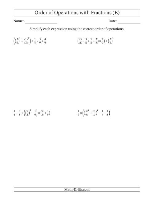 The Order of Operations with Positive Fractions (Six Steps) (E) Math Worksheet