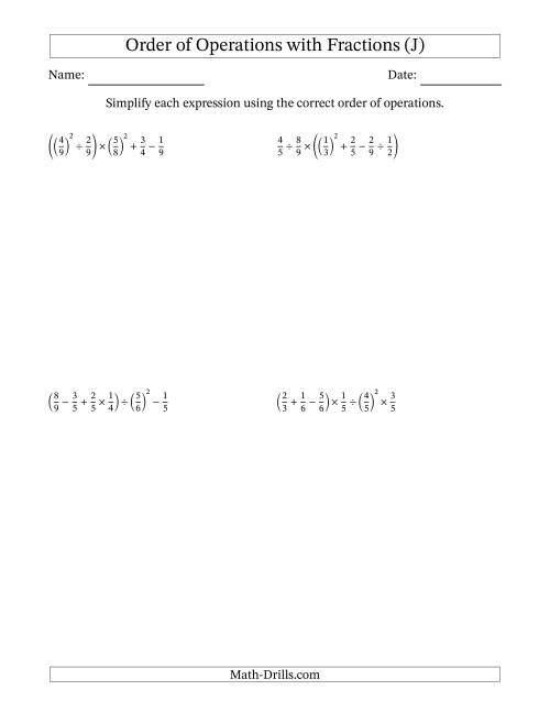 The Order of Operations with Positive Fractions (Six Steps) (J) Math Worksheet