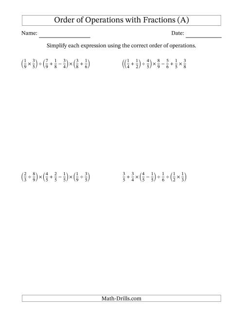 The Order of Operations with Positive Fractions and No Exponents (Six Steps) (A) Math Worksheet