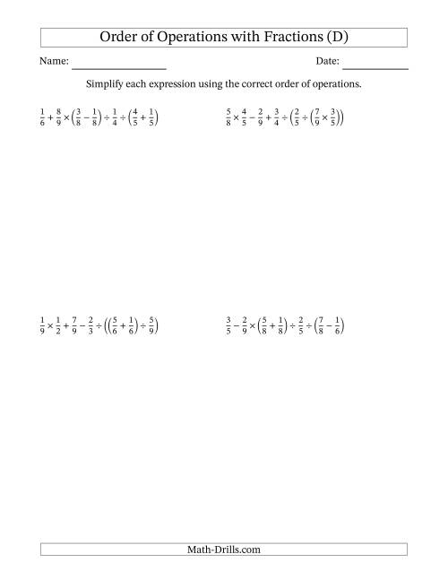 The Order of Operations with Positive Fractions and No Exponents (Six Steps) (D) Math Worksheet