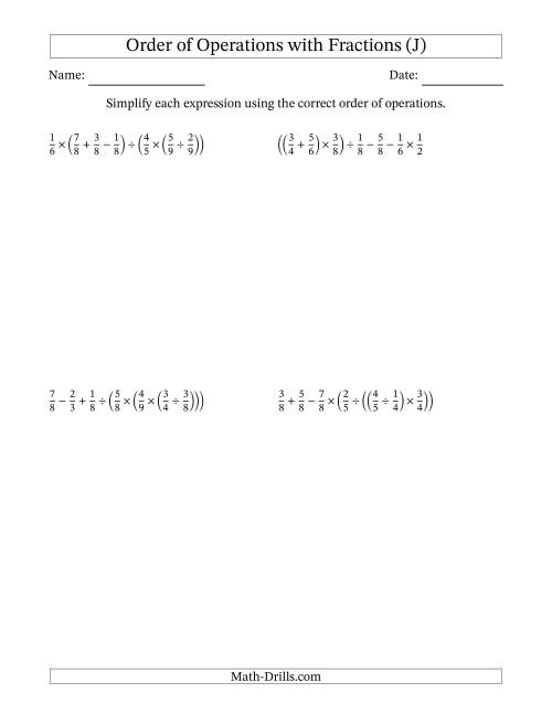 The Order of Operations with Positive Fractions and No Exponents (Six Steps) (J) Math Worksheet