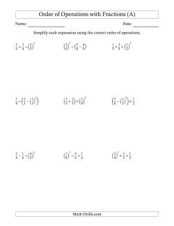 Order of Operations with Positive Fractions (Three Steps)