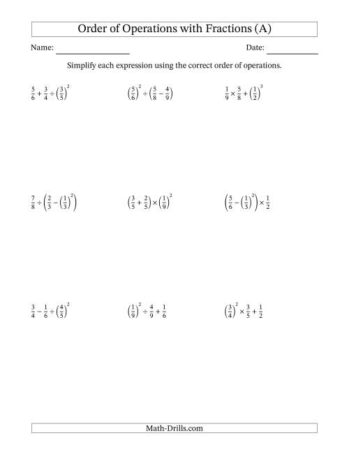 Order of Operations with Positive Fractions Three Steps A – Multi Step Equations with Fractions Worksheets