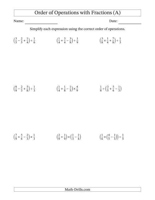 The Order of Operations with Positive Fractions and No Exponents (Three Steps) (A) Math Worksheet