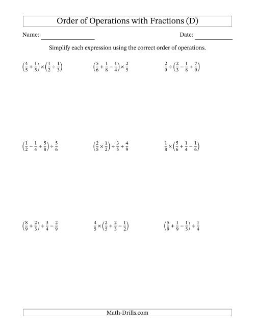 Order of Operations with Positive Fractions and No ...