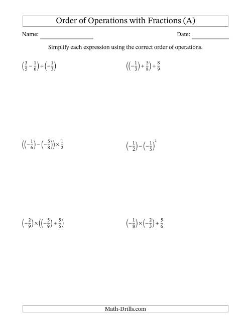 The Order of Operations with Negative and Positive Fractions (Two Steps) (A) Math Worksheet