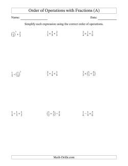 Order Of Operations Worksheets Order Of Operations Practice Worksheets Free Printable 2 Step Positive Fractions Order Of Operations