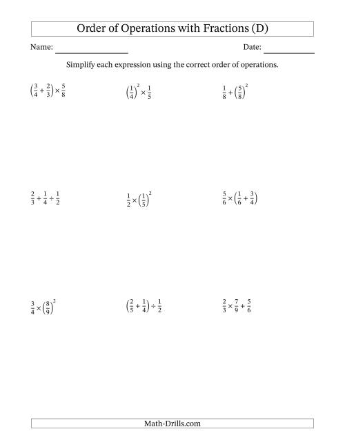 The Order of Operations with Positive Fractions (Two Steps) (D) Math Worksheet