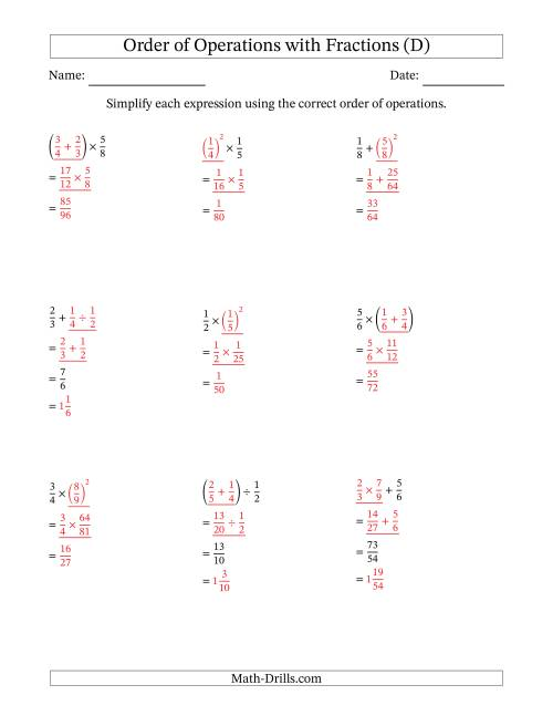 The Order of Operations with Positive Fractions (Two Steps) (D) Math Worksheet Page 2