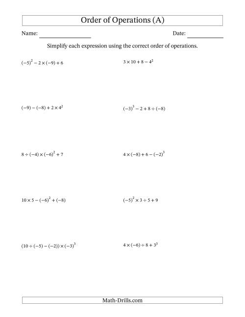 The Order of Operations with Negative and Positive Integers (Four Steps) (A) Math Worksheet