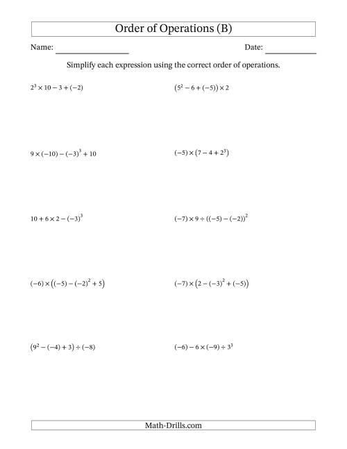 The Order of Operations with Negative and Positive Integers (Four Steps) (B) Math Worksheet