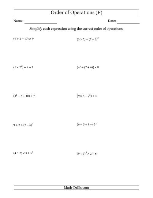 The Order of Operations with Whole Numbers (Four Steps) (F) Math Worksheet