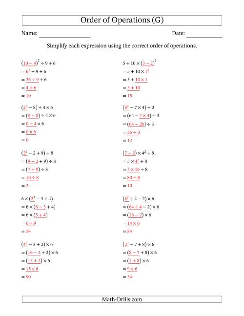 The Order of Operations with Whole Numbers (Four Steps) (G) Math Worksheet Page 2