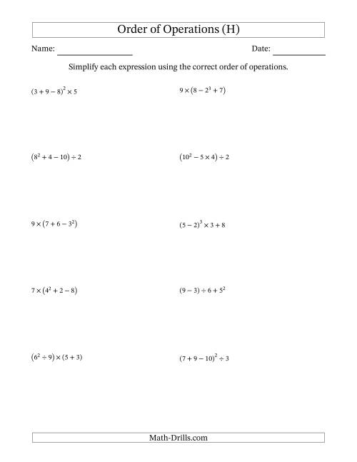 The Order of Operations with Whole Numbers (Four Steps) (H) Math Worksheet