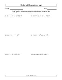 Integers Order of Operations -- Six Steps Including Negative Integers (A)