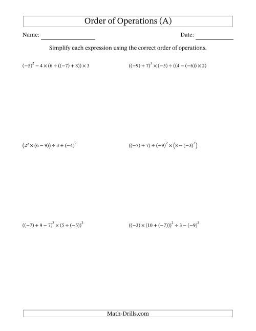 Order of Operations with Negative and Positive Integers (Six Steps) (A)