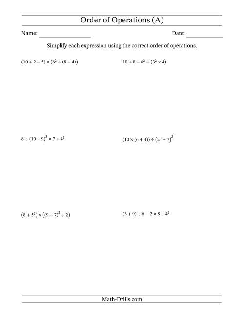 The Order of Operations with Whole Numbers (Six Steps) (A) Math Worksheet