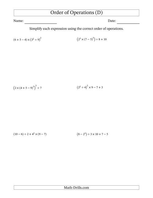 The Order of Operations with Whole Numbers (Six Steps) (D) Math Worksheet