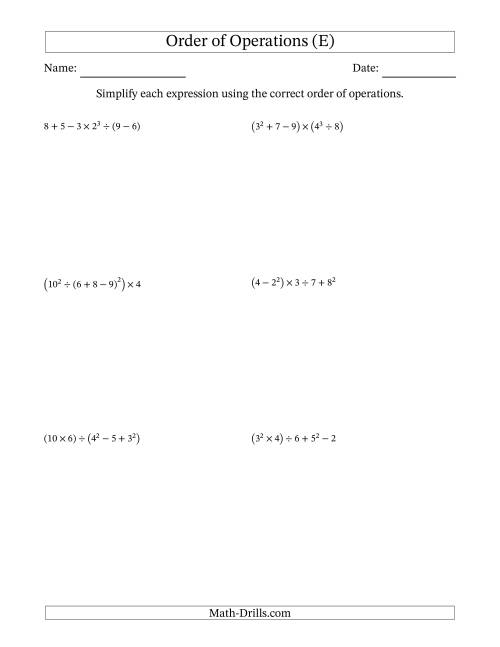 The Order of Operations with Whole Numbers (Six Steps) (E) Math Worksheet