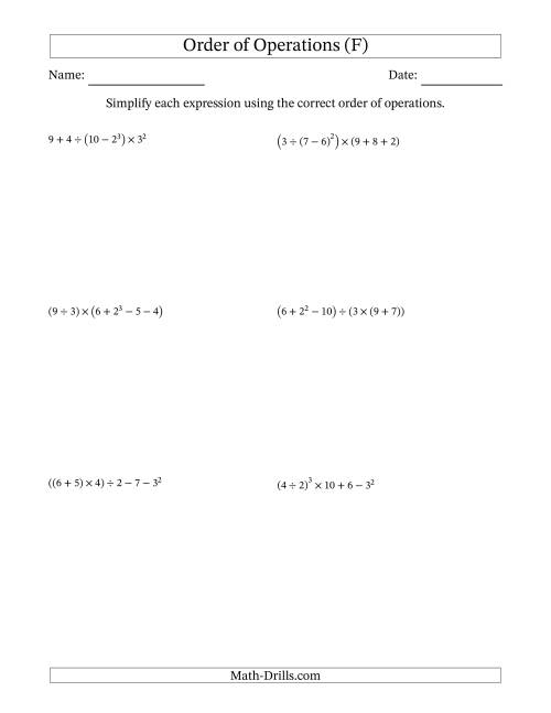 The Order of Operations with Whole Numbers (Six Steps) (F) Math Worksheet