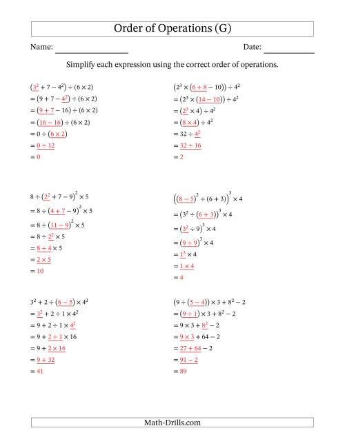 Order Of Operations With Whole Numbers Six Steps G