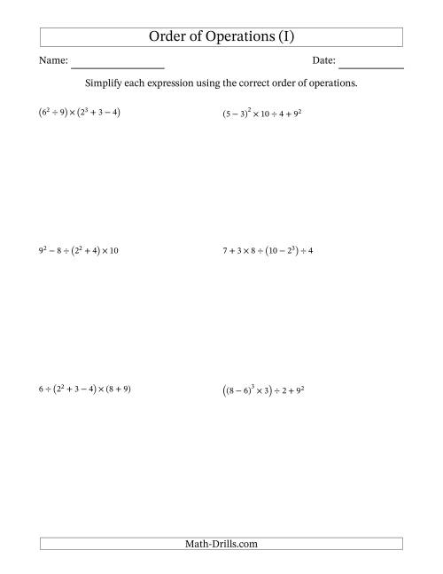 The Order of Operations with Whole Numbers (Six Steps) (I) Math Worksheet