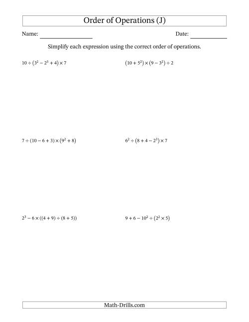 The Order of Operations with Whole Numbers (Six Steps) (J) Math Worksheet