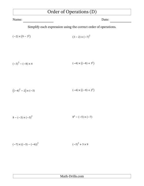 The Order of Operations with Negative and Positive Integers (Three Steps) (D)