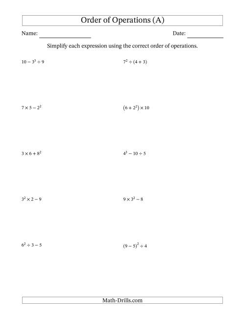 The Order of Operations with Whole Numbers (Three Steps) (A) Math Worksheet