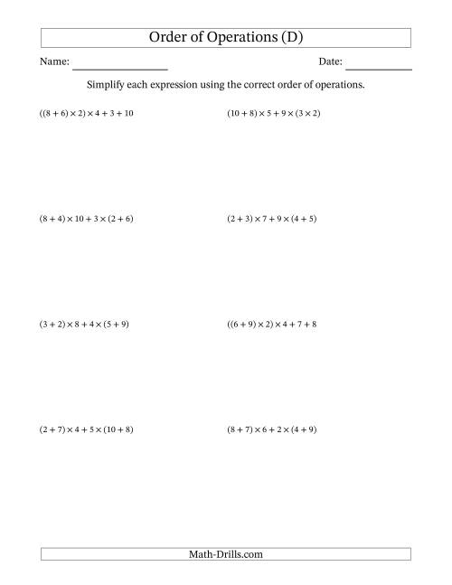 The Order of Operations with Whole Numbers Multiplication and Addition Only (Five Steps) (D) Math Worksheet