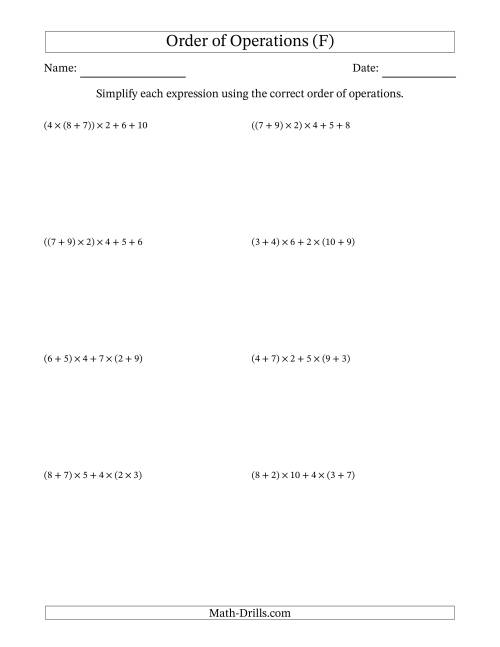 The Order of Operations with Whole Numbers Multiplication and Addition Only (Five Steps) (F) Math Worksheet