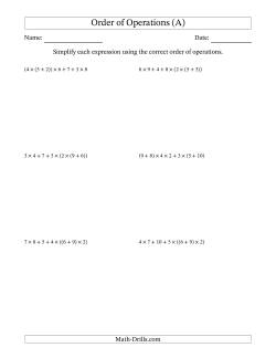 Order of Operations with Whole Numbers Multiplication and Addition Only (Six Steps)