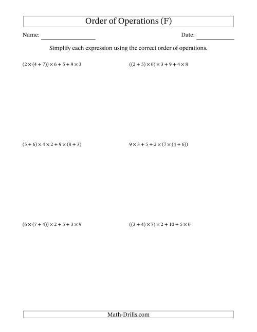 The Order of Operations with Whole Numbers Multiplication and Addition Only (Six Steps) (F) Math Worksheet