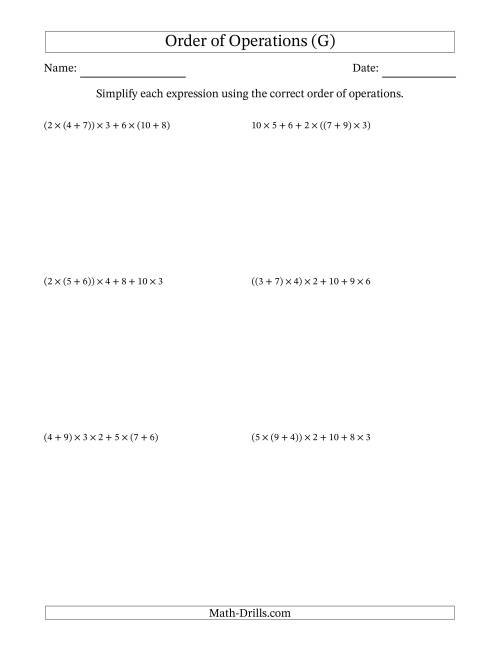 The Order of Operations with Whole Numbers Multiplication and Addition Only (Six Steps) (G) Math Worksheet