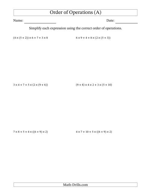 The Order of Operations with Whole Numbers Multiplication and Addition Only (Six Steps) (All) Math Worksheet