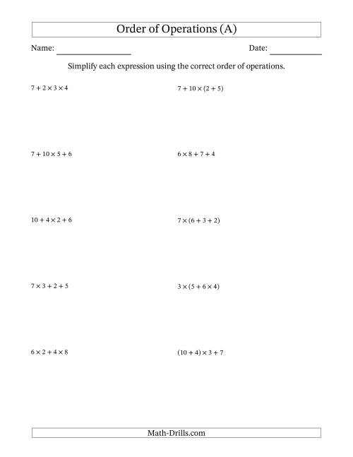 The Order of Operations with Whole Numbers Multiplication and Addition Only (Three Steps) (A) Math Worksheet