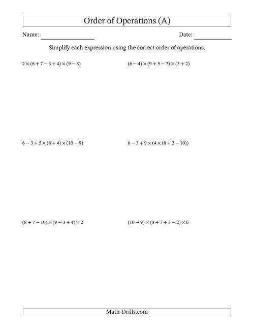 The Order of Operations with Whole Numbers Multiplication, Addition and Subtraction Only (Six Steps) (A) Math Worksheet