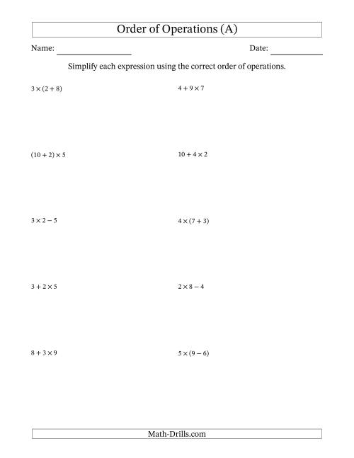 The Order of Operations with Whole Numbers Multiplication, Addition and Subtraction Only (Two Steps) (A) Math Worksheet