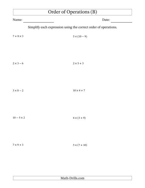 The Order of Operations with Whole Numbers Multiplication, Addition and Subtraction Only (Two Steps) (B) Math Worksheet