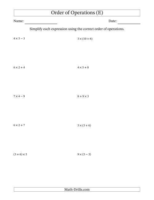 The Order of Operations with Whole Numbers Multiplication, Addition and Subtraction Only (Two Steps) (E) Math Worksheet