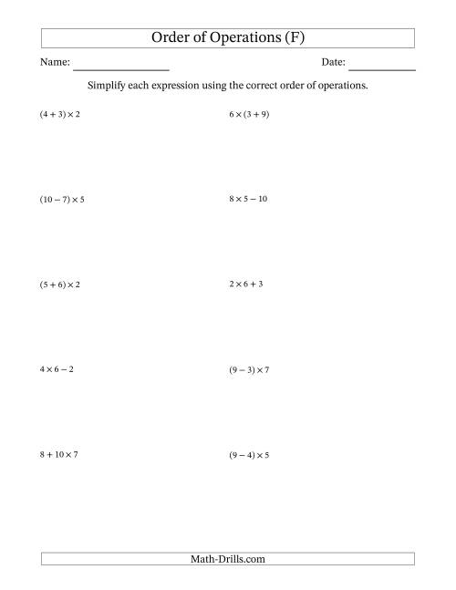 The Order of Operations with Whole Numbers Multiplication, Addition and Subtraction Only (Two Steps) (F) Math Worksheet